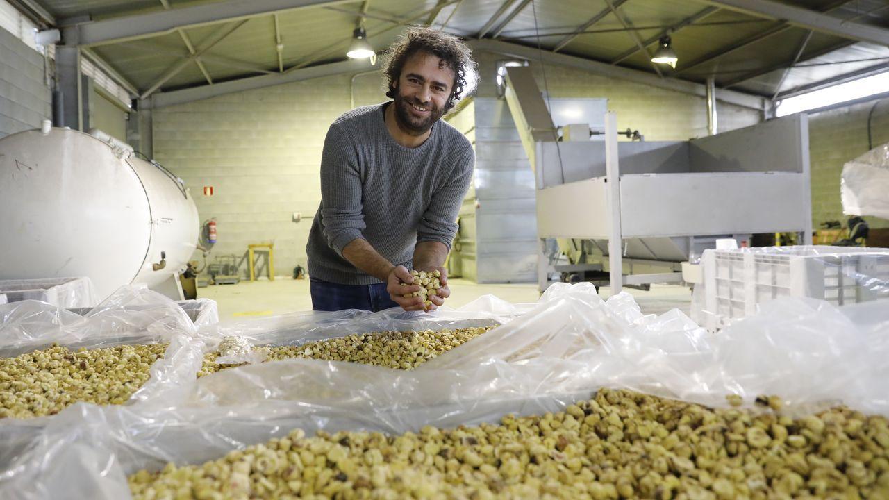David Rodríguez, con castañas en la mano en la cooperativa con la que trabaja