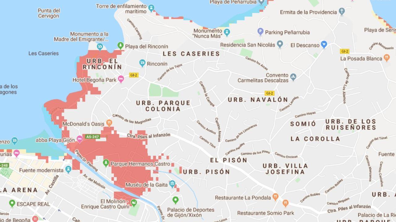 La zona del Rinconín y el río Piles, en las que estarían afectados el recinto ferial, el Muséu del Pueblu d'Asturies y el entorno de El Molinón