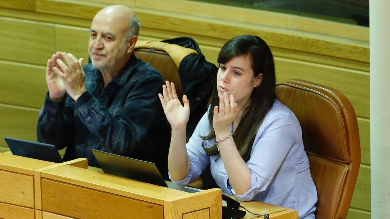 La diputada de En Marea, Paula Quinteiro, esta mañana en el Parlamento