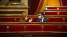 La presidenta de los Comunes, Jéssica Albiach conversa con el vicepresidente del Gobierno catalán, Pere Aragonés