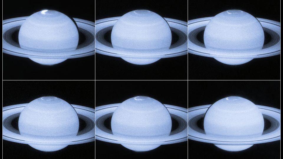 Hubble capta los destellos de las auroras polares de Saturno