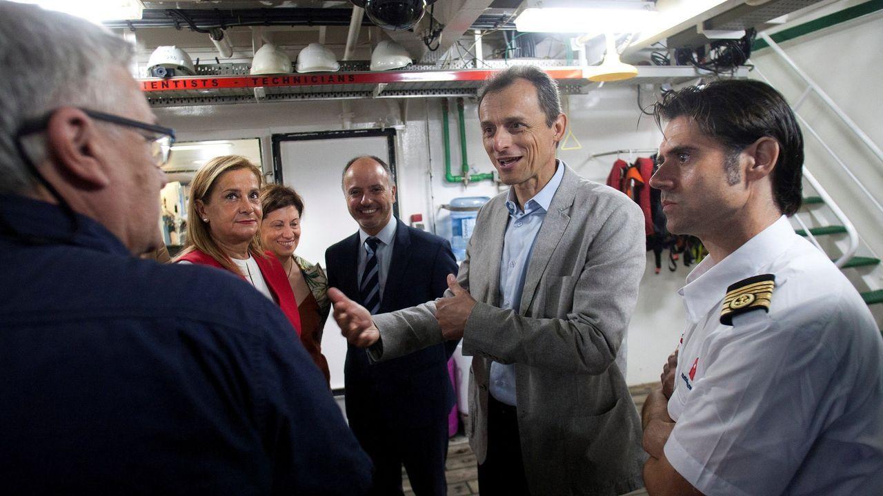 8 DE AGOSTO - VIGO: Pedro Duque charla con los científicos del buque oceanográfico Sarmiento de Gamboa