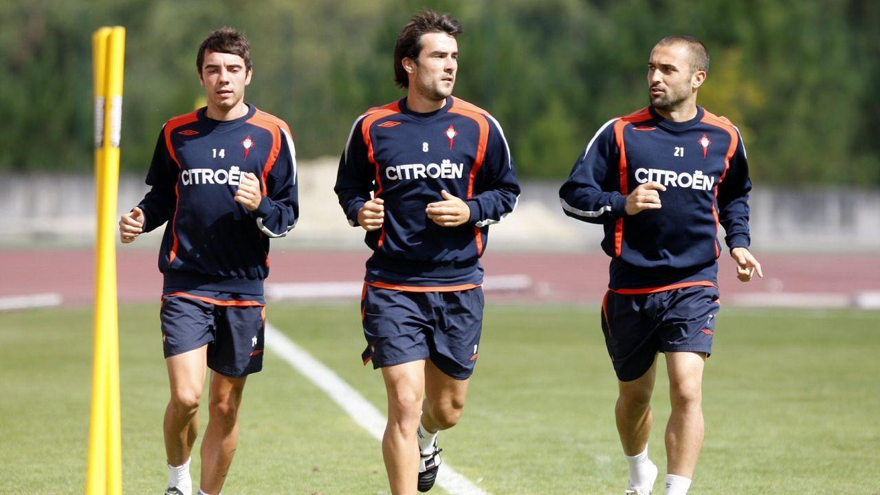 Aspas, López Garai y Bustos, en un entrenamiento en Melgaço en el 2009