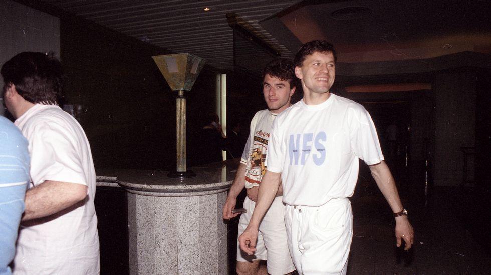 Fran y Marcos Vales bromean en el hotel Intercontinental.
