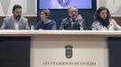 Desde la izquierda, Ricardo Fernández (PSOE), Ana Taboada (Somos), el alcalde de Oviedo, Wenceslao López, y Cristina Pontón (IU).Desde la izquierda, Ricardo Fernández (PSOE), Ana Taboada (Somos), el alcalde de Oviedo, Wenceslao López, y Cristina Pontón (IU)