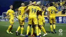 Gol Alcorcon Deportivo Santo Domingo.Los futbolistas del Alcorcon celebran un gol ante el Deportivo en Santo Domingo
