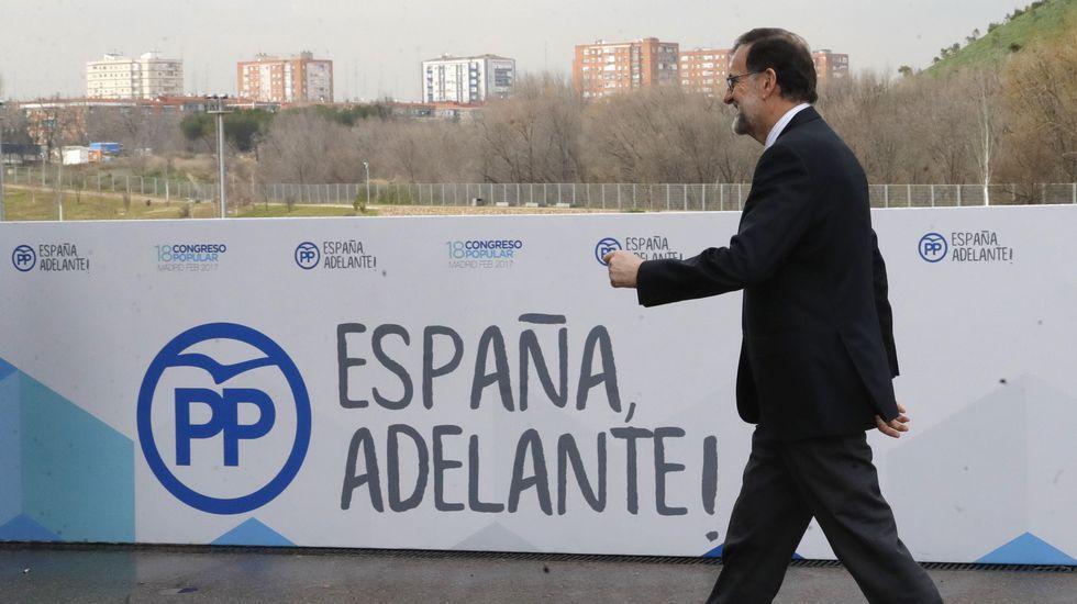Rajoy se coloca su credencial del congreso.