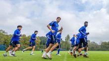 Futbolistas del Real Oviedo durante un entrenamiento en El Requexón