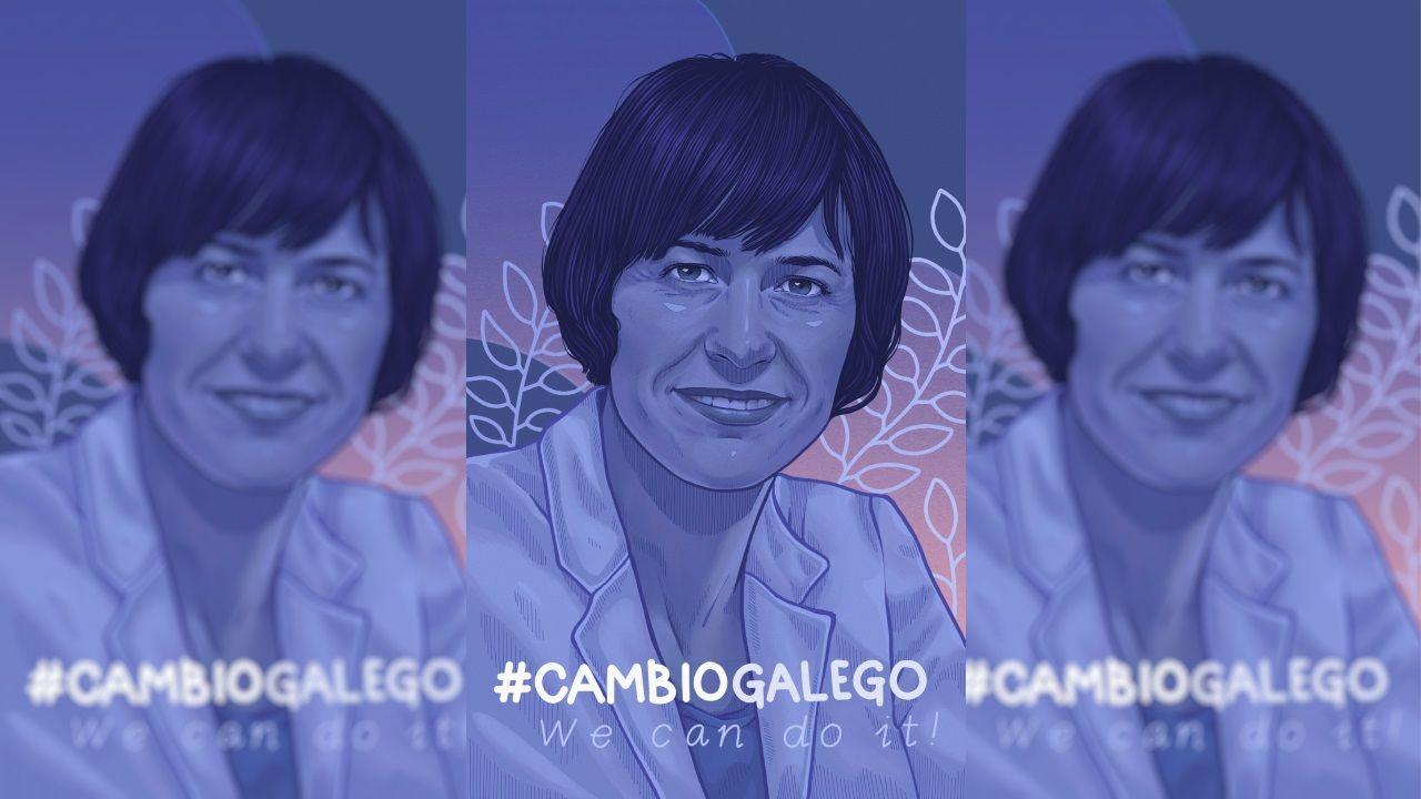 Póster retrato de Ana Pontón lanzado por el BNG y realizado por la muralista Lidia Cao