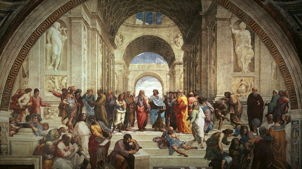 Descubrimiento cervantino en la Universidad de Oviedo.«La escuela de Atenas» (1510-1511). Pintura de Rafael Sanzio, en el Palacio Apostólico del Vaticano
