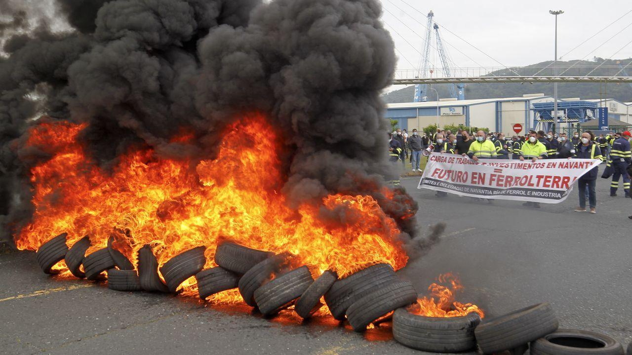 Manifestación de los trabajadores de Navantia y Endesa.Metalships