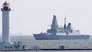 El destructor HMS Defender a su llegada a Odesa desde el mar Negro, el pasado dia 18.