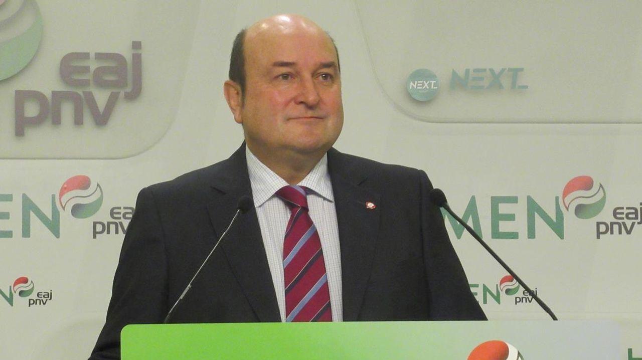 Andoni Ortúzar, presidente del PNV, en un acto de la formación nacionalista