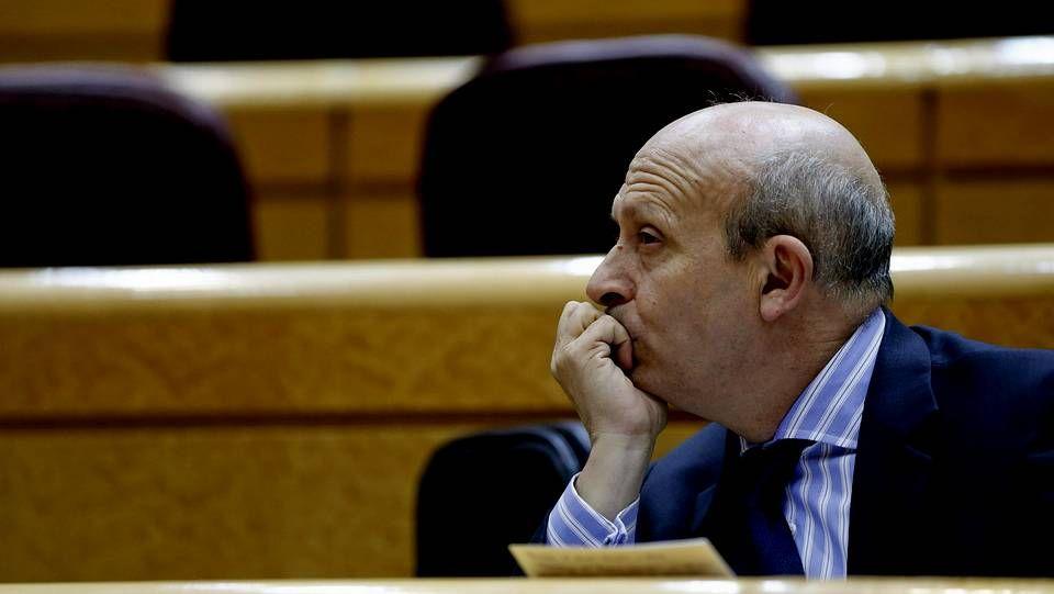 El ministro Wert durante la sesión de control al Gobierno celebrada esta tarde en el Senado