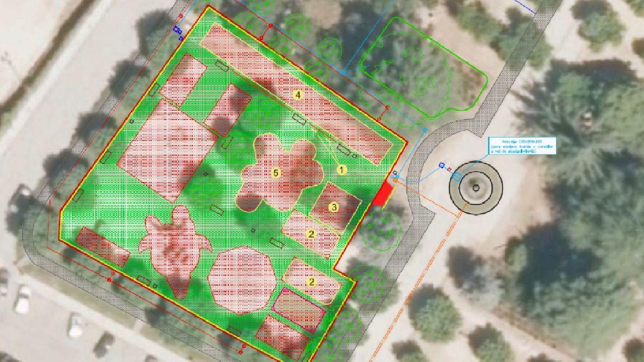 Un plano del proyecto de ampliación muestra la superficie que ocupará el área de juegos del parque de la Compañía, que pasará de los 950 metros cuadrados que tiene actualmente a contar con cerca de 1.650