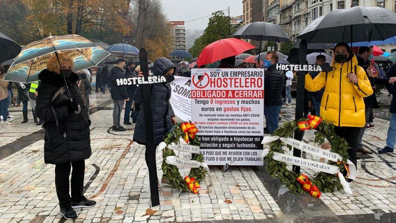 Concentración de los hsoteleros en Oviedo