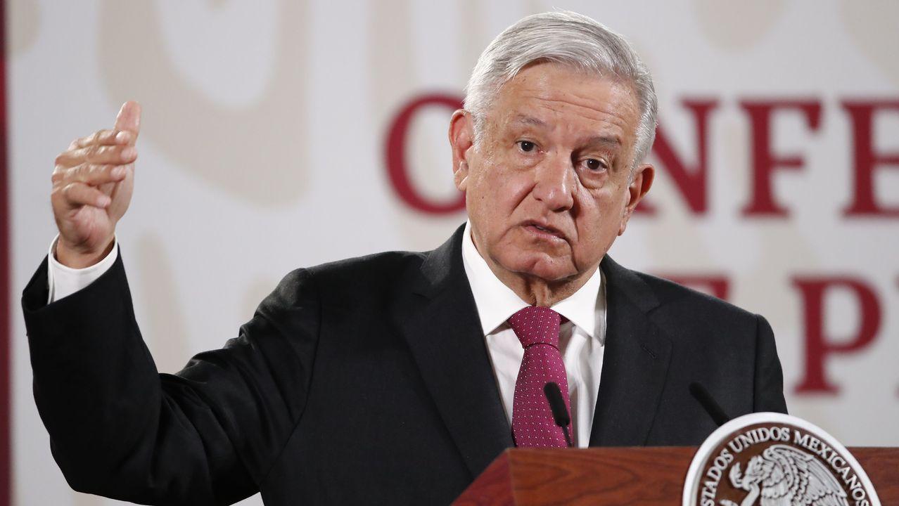 El presidente de México, Andres Manuel López Obrador, este miercoles en el palacio nacional de Ciudad de México