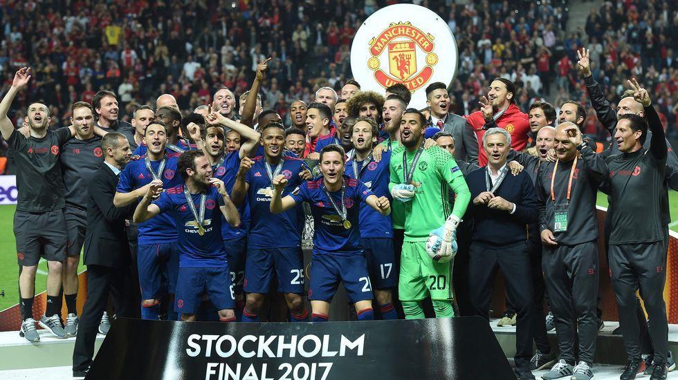 El Manchester United, campeón de la Liga Europa.Juan Mata