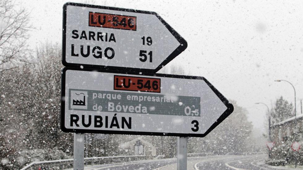 Así nevaba en Bóveda, a poco más de 300 metros de altitud, a eso de las once de la mañana de este viernes