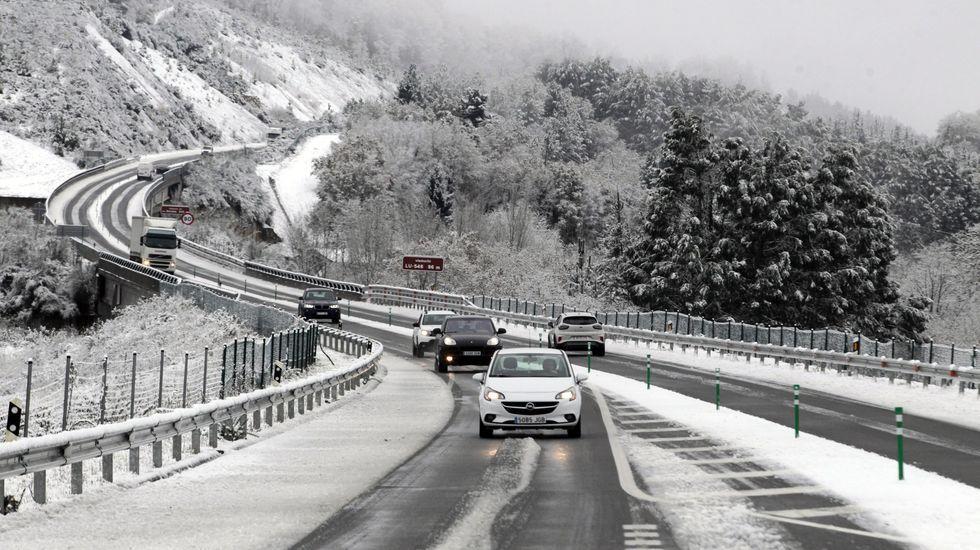 El tráfico por el corredor Monforte-Lugo a la altura de Oural estuvo cortado por momentos durante la mañana