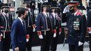 El presidente de la Generalitat, Pere Aragonés, saludado por el Mayor de los Mossos d'Esquadra, Josep Lluis Trapero, a su llegada a la ofrenda floral del Gobierno catalán