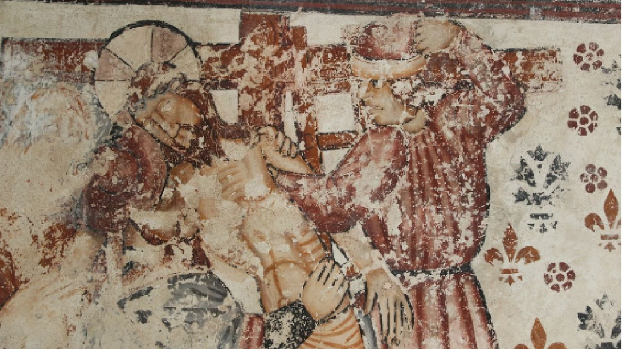 Un detalle de los murales renacentistas de la iglesia de Pinol