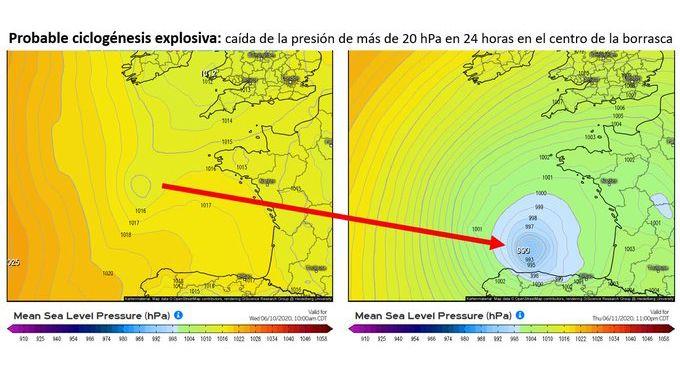Probable ciclogénesis explosiva que impactará en Asturias