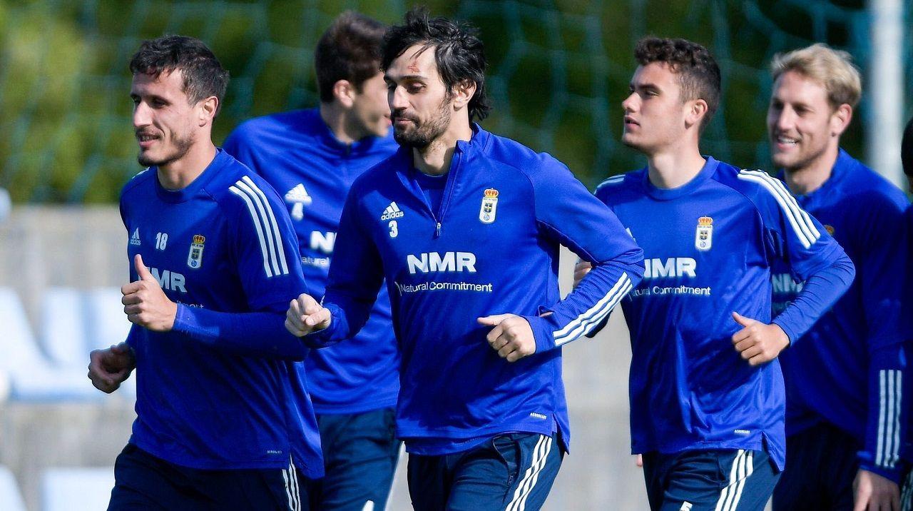 Leschuk Bueno Borja Sanchez Girona Real Oviedo Montilivi.Christian, Arribas, Álex Suárez y Carlos Hernández, en El Requexón