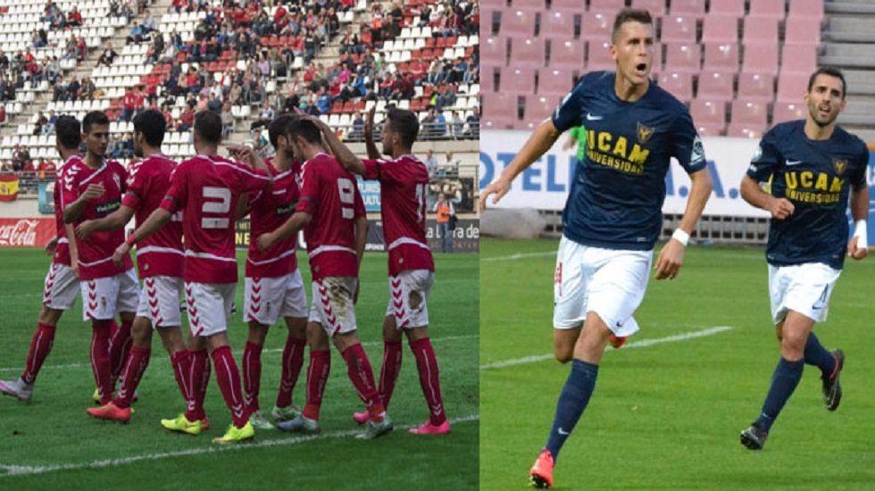 El Campeonato de España de Duatlón en Avilés, en imágenes.Jugadores de Real Murcia y UCAM en la celebración de un gol