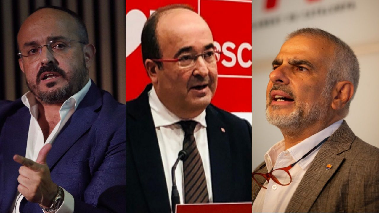 Alejandro Fernández (PP), Miquel Iceta (PSC) y Carlos Carrizosa (Cs), tres de los candidatos a la Generalitat el 14 de febrero