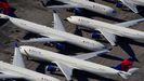 Aviones de la compañía Delta Air Lines, estacionados en el aeropuerto Birmingham-Shuttlesworth International, en Birmingham, Alabama (Estados Unidos)
