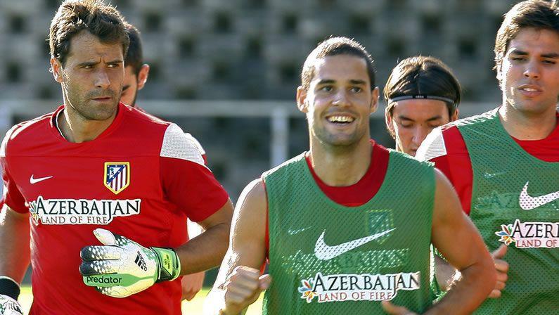 Aranzubia.Primer entrenamiento de Aranzubía con el Atlético