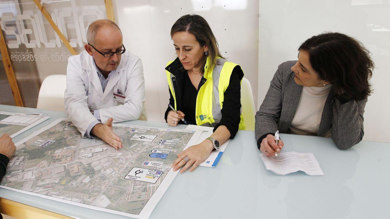 La conselleira (en el centro) analizó el plan de obras junto al director del área sanitaria, Ángel Facio