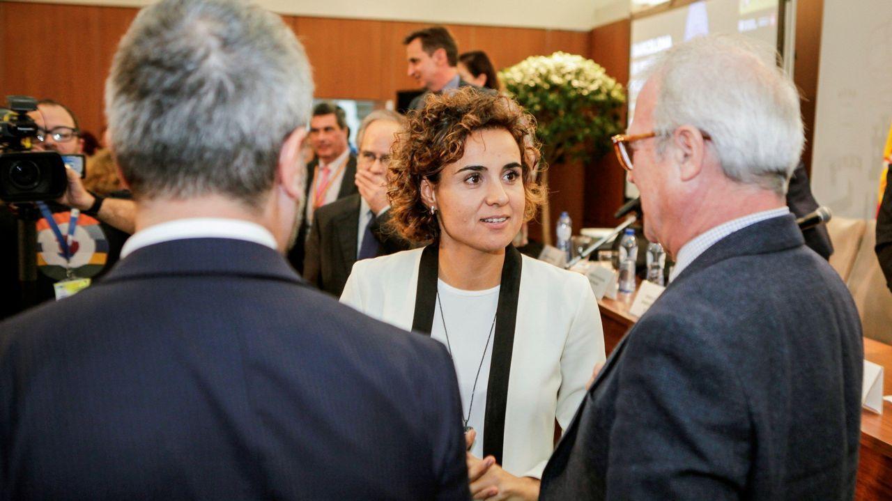 Los Reyes, en Asturias.La ministra de Sanidad, Dolors Montserrat, durante la presentación de Barcelona para albergar la sede de la Agencia Europea del Medicamento.