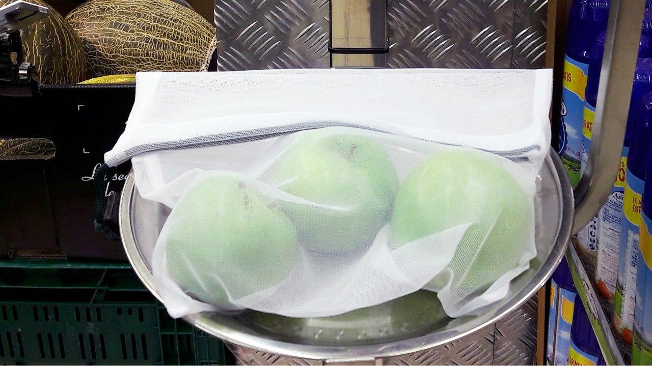 Los Reyes Magos se apuntan a las rebajas.Bolsa de malla reutilizable para fruta y verdura disponible en los establecimientos Vegalsa-Eroski