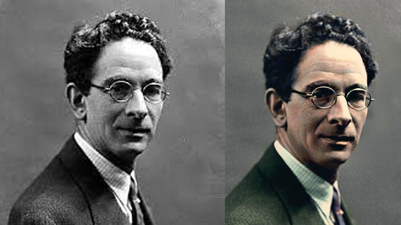 A la izquierda, la fotografía original del rector de la Universidad de Oviedo Leopoldo Alas. A la derecha, la imagen coloreada por el artista