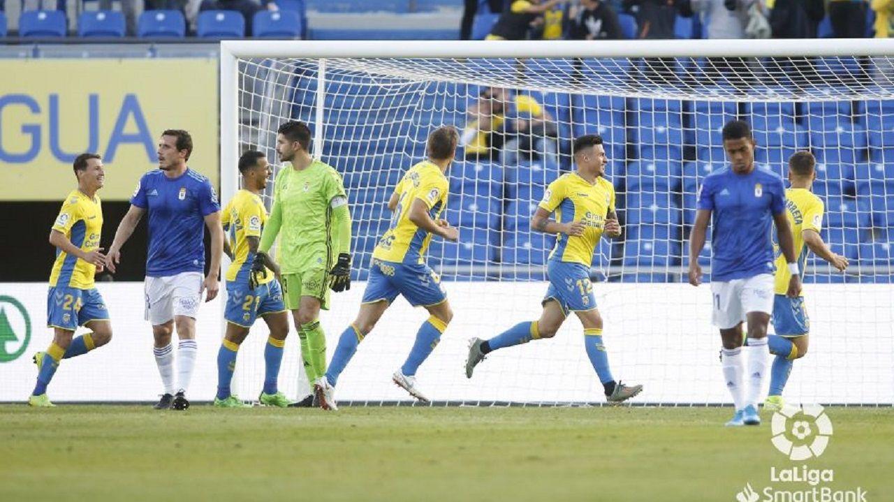 Christian, Champagne y Bárcenas, después del 1-0 de la UD Las Palmas