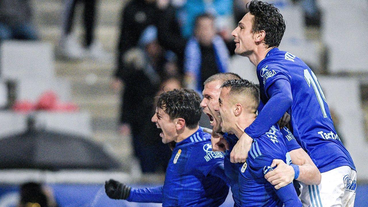 Sangalli, Ortuño, Tejera y Borja celebran el 2-1 al Rayo Vallecano