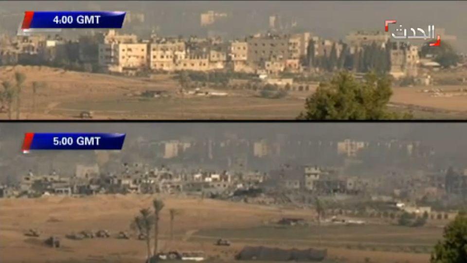 Israel destruye en una hora una calle de Gaza.En los pocos minutos que duró la tregua, los palestinos pudieron recoger algunas pertenencias de sus derruidos hogares.