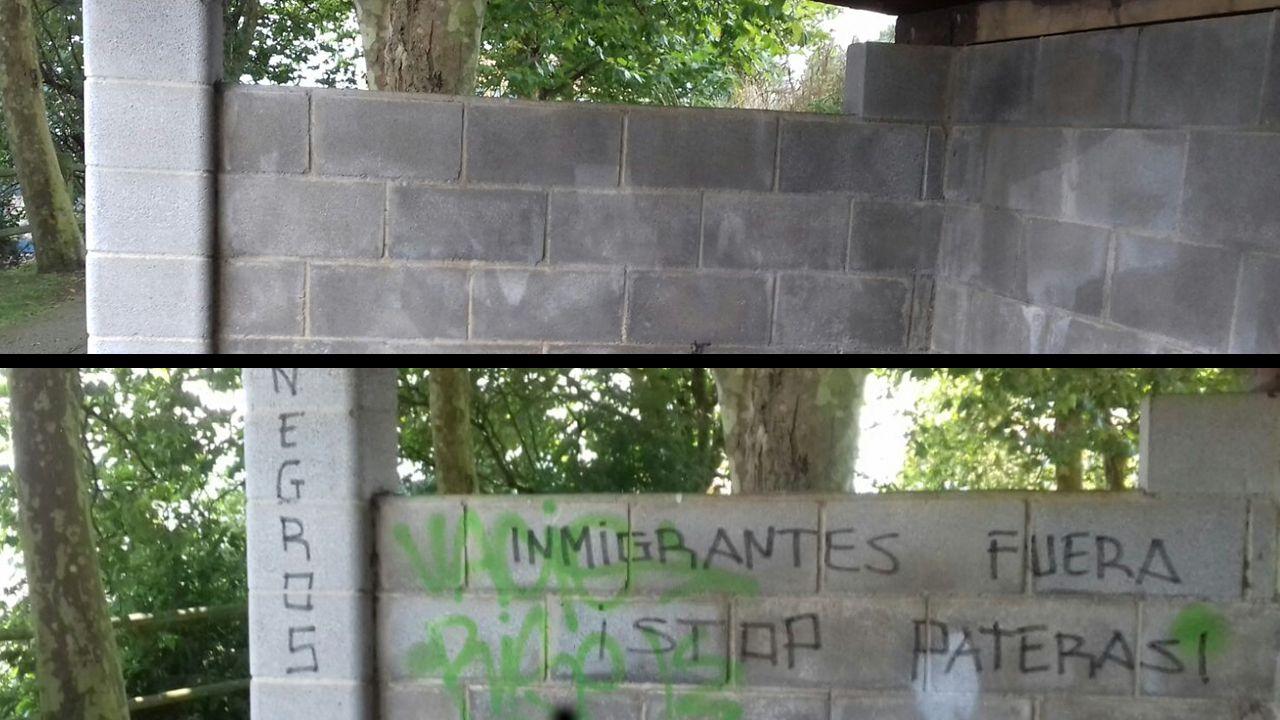 El ayuntamiento limpia las pintadas racistas de la pista Finlandesa