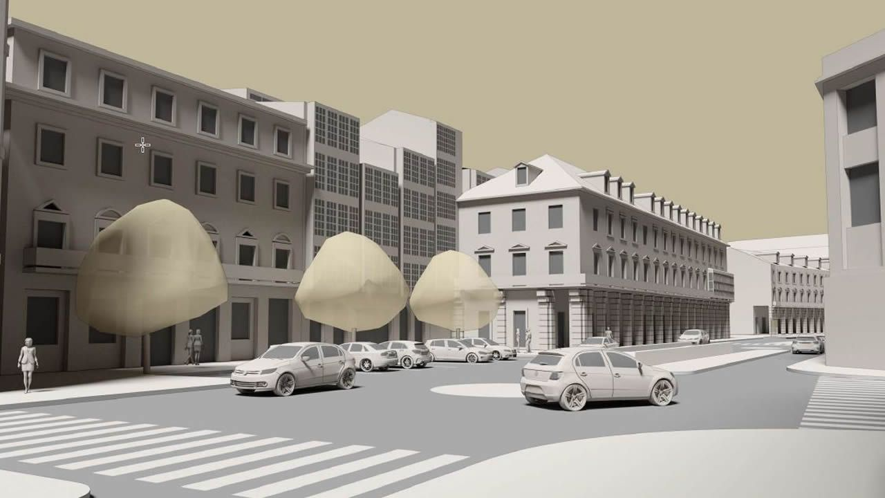 Frente a las Casas de Paredes, hoy rodeadas por el tráfico rodado, se instalará un banco corrido que ayudará a recuperar el espíritu de la antigua plaza de la Aduana