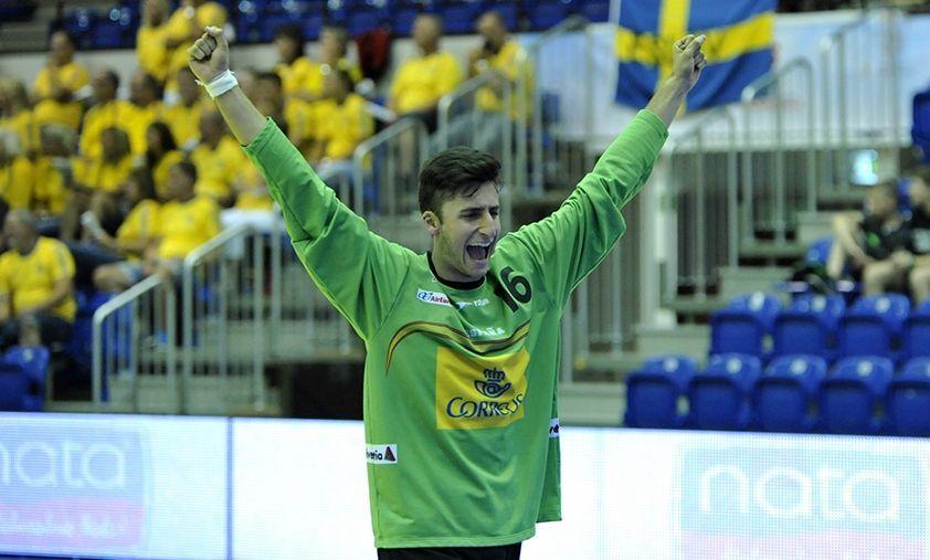 El portero lalinense Xoán Ledo en el Europeo del pasado año disputado en Polonia.
