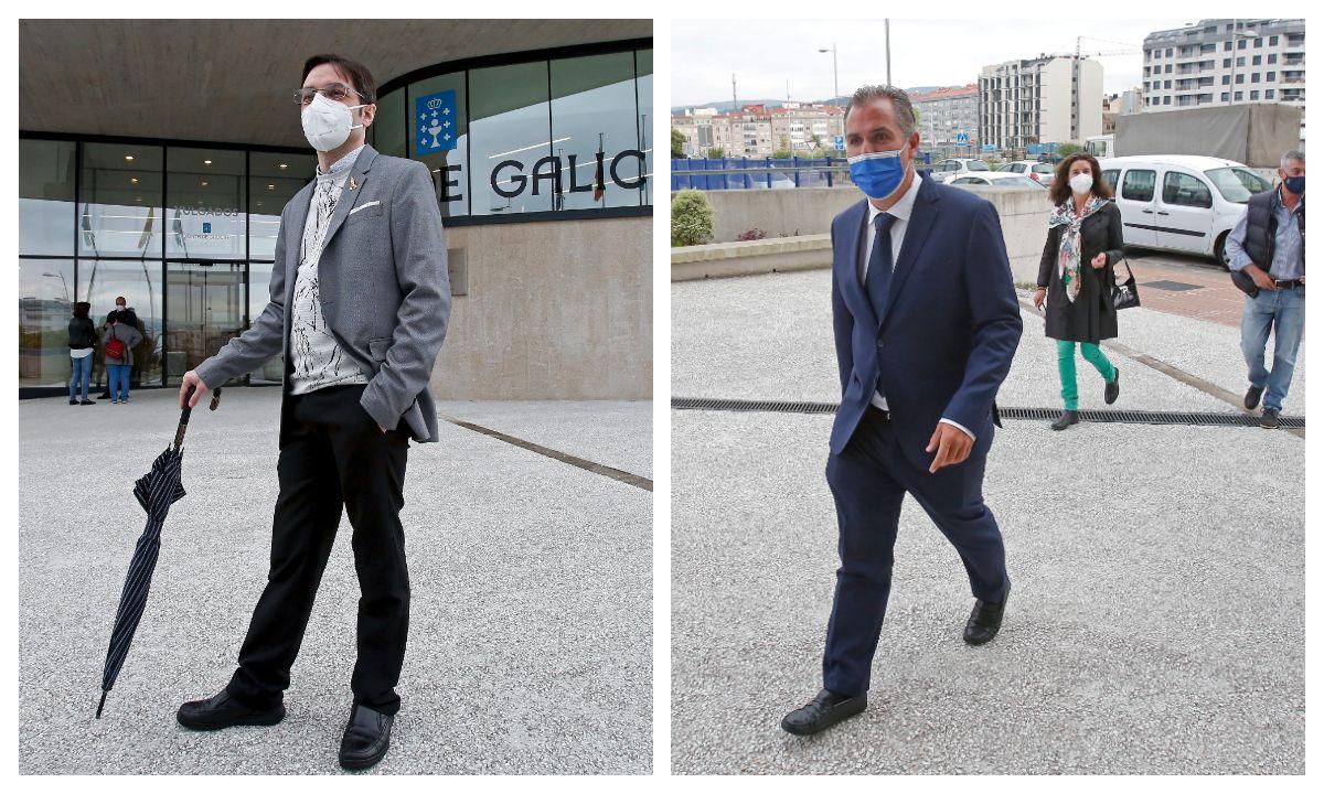 El dibujante Kiko da Silva, a la izquierda, y el porrtavoz del PP en Pontevedra, Rafa Domínguez, a su llegada a los juzgados