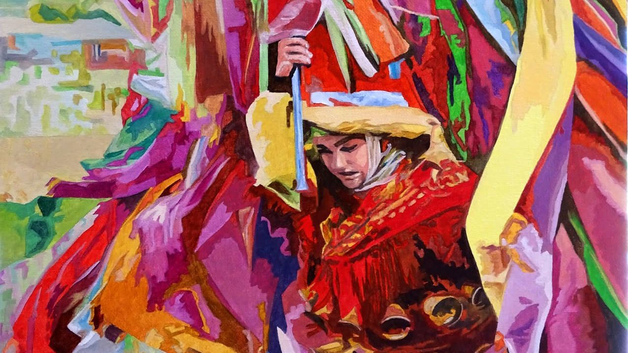 obras.Un pucho, personaje típico del Entroido Ribeirao de Chantada, representado en una pintura de Carlos Padín