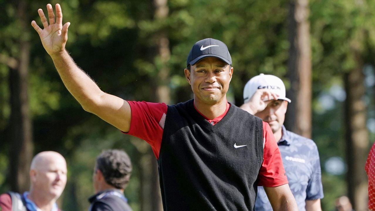 Las grandes estrellas de los próximos Juegos Olímpicos de Tokio.Nicklaus, como capitán de EE. UU. en la Presidents Cup, anima a Woods en el 2005.