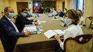 La fiscala general del Estado, Dolores Delgado, presidiendo el Consejo Fiscal, reunido desde el lunes en el pazo de Mariñán.