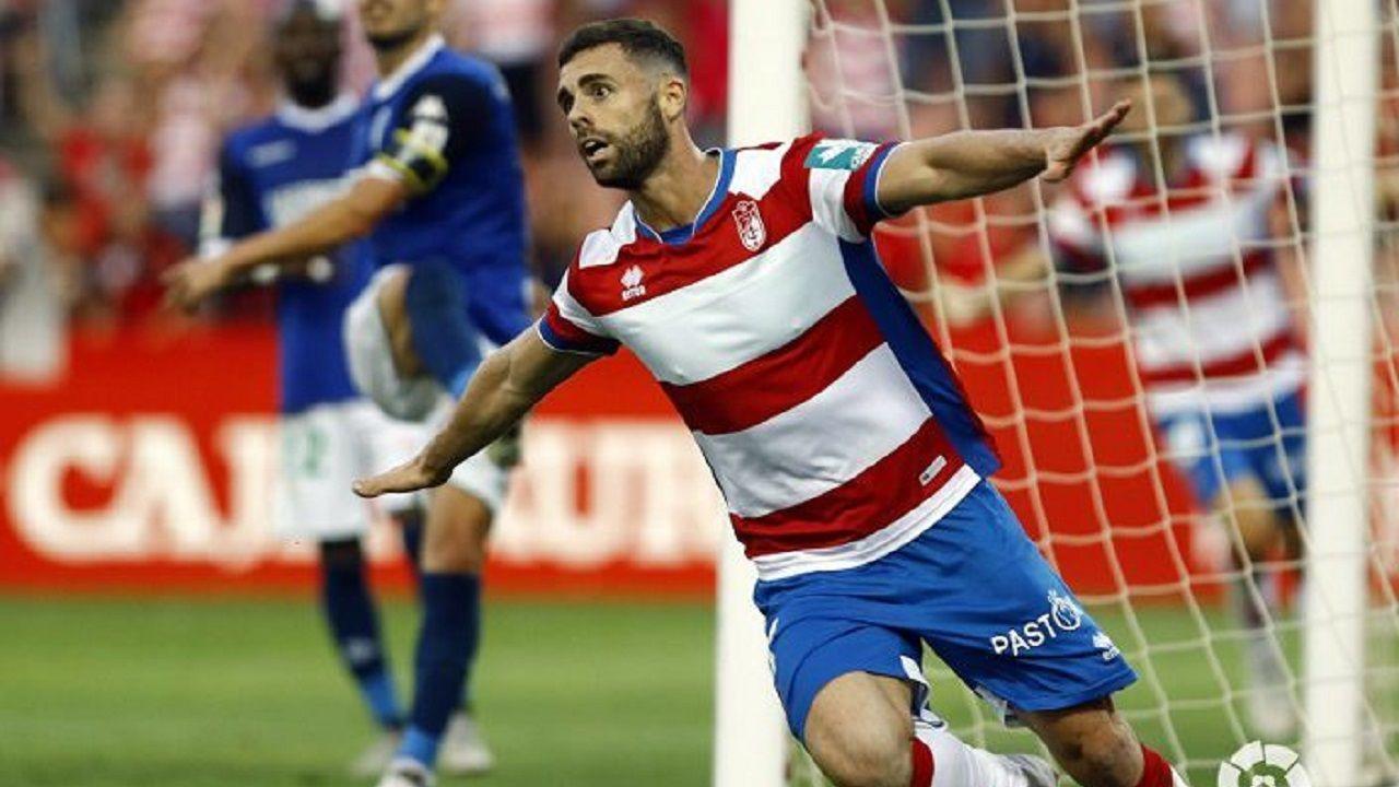 Rodri celebra un gol con el Granada