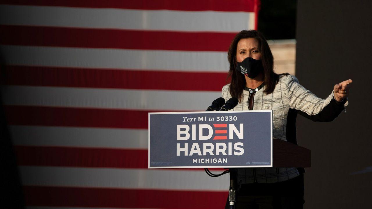 La gobernadora de Míchigan, Gretchen Whitmer, en un mitin de la campaña de Biden el pasado septiembre