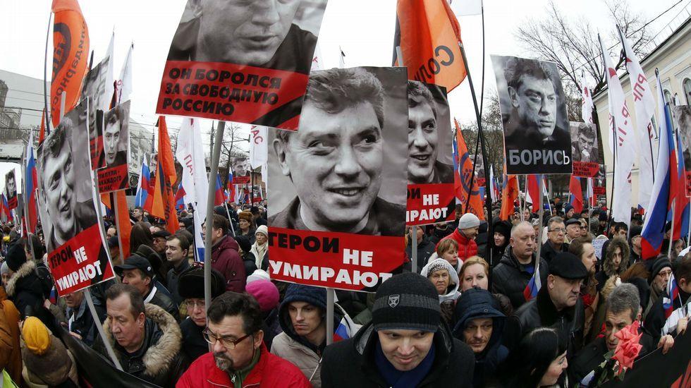 Manifestación en Moscú en memora de Boris Nemtsov