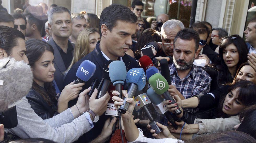 Declaraciones antes de la movilización del secretario general del PSOE, Pedro Sánchez.